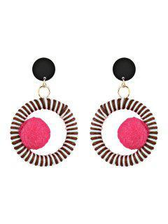 Boucles D'Oreilles Pendantes Motif Cercle Et Boule Pelucheuse  - Rouge Rose