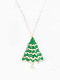 Rhinestoned Christmas Tree Sweater Chain - Green