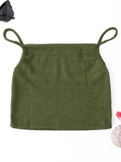 Ribbed Cropped Camis - Army Green S