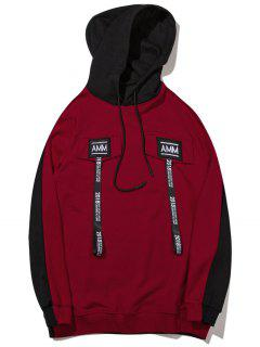 Color Block Patched Hoodie - Black And Red M