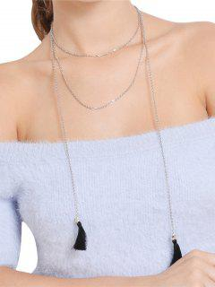 Alloy Chain Tassel Necklace - Silver