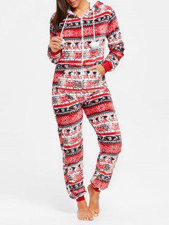 Hooded Zip Christmas Jumpsuit Sleepwear - Red M