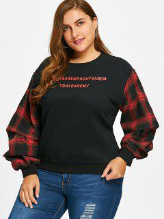 Gingham Lantern Sleeve Plus Size Sweatshirt - Black Xl