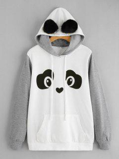 Panda Face Kangaroo Pocket Hoodie - Grey And White M