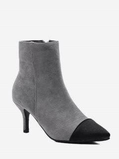 Stiletto Color Block Pointed Toe Boots - Gray 38