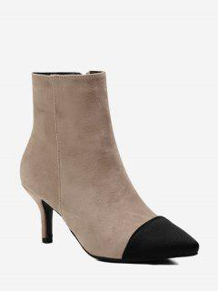 Stiletto Color Block Pointed Toe Boots - Apricot 35