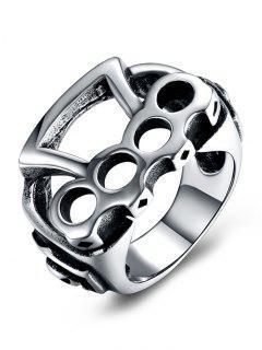 Geometric Pattern Titanium Steel Rolling Biker Ring - Silver 8