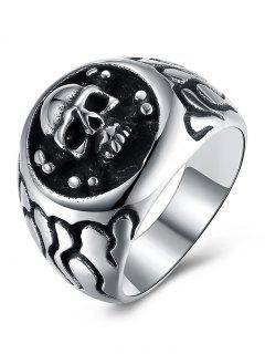 Gothic Style Skull Pattern Stainless Steel Biker Ring - Black 10