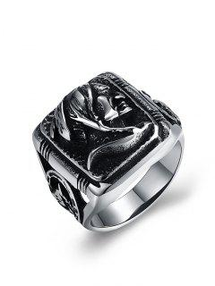 Human Pattern Carved Titanium Steel Biker Ring - Silver 9