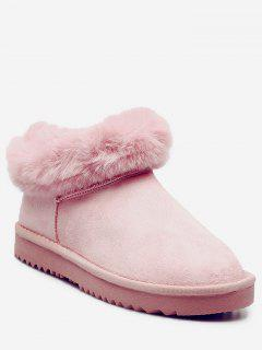 Faux Fur Trim Warm Snow Boots - Pink 39