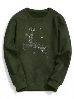 Suede Christmas Reindeer Sweatshirt - Army Green M