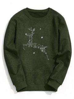 Suede Christmas Reindeer Sweatshirt - Army Green S