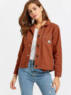 Button Up Pockets Jacket - Light Brown S