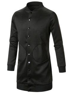 Slot Pocket Stand Collar Button Up Coat - Black Xl