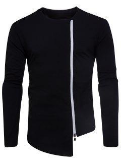 Crew Neck Oblique Zip Up Asymmetric T-shirt - Black Xl