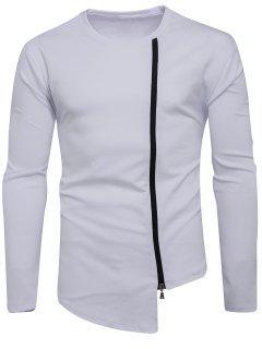 Crew Neck Oblique Zip Up Asymmetric T-shirt - White M