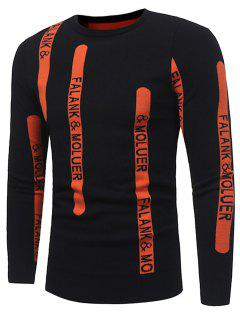 Crew Neck Graphic Print Ribbed Pullover Sweater - Black Xl