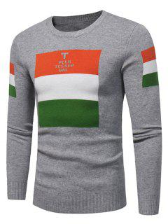 Suéter De Jersey Con Estampado Gráfico De Bloque De Color De Cuello Redondo - Gris 3xl