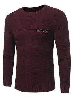 Crew Neck Jacquard Graphic Print Pullover Sweater - Wine Red L