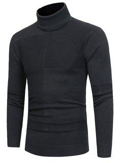 Turtle Neck Rib Jacquard Panel Pullover Sweater - Deep Gray 3xl