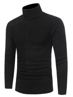 Turtle Neck Rib Jacquard Panel Pullover Sweater - Black 2xl