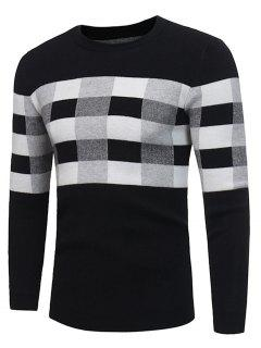 Crew Neck Color Block Plaid Pullover Sweater - Black L