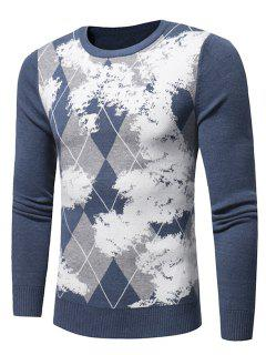 Crew Neck Tartan Tie Dye Print Pullover Sweater - Light Blue Xl
