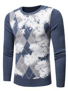 Crew Neck Tartan Tie Dye Print Pullover Sweater - Light Blue 3xl