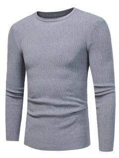 Crew Neck Stripe Jacquard Stretchy Pullover Sweater - Gray 3xl