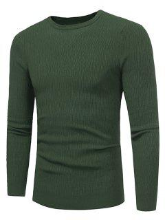 Crew Neck Stripe Jacquard Stretchy Pullover Sweater - Green 3xl