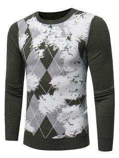 Pullover Imprimé Teinture Tartan Avec Col Ras De Cou - Vert Xl