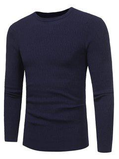 Crew Neck Stripe Jacquard Stretchy Pullover Sweater - Deep Blue 3xl