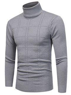 Turtle Neck Twist Plaid Jacquard Pullover Sweater - Gray 3xl