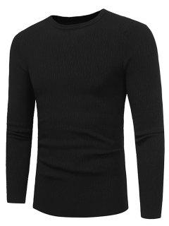 Crew Neck Stripe Jacquard Stretchy Pullover Sweater - Black 3xl