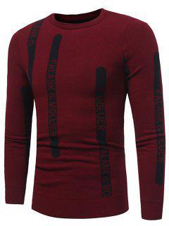 Pullover Mit Rundhalsausschnitt Und Geripptem Pullover - Rot Xl