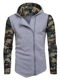 Camouflage Panel Fleece Asymmetric Zip Up Hoodie - Light Gray S