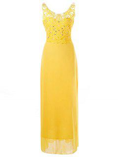 Backless Beaded Applique Prom Dress - Yellow L