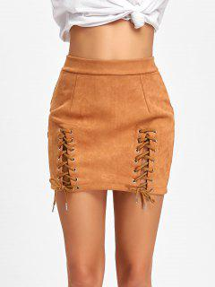 Faux Suede Lace Up A-line Skirt - Brown M