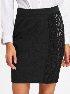 Lace Trim Slim Fit Skirt - Black M