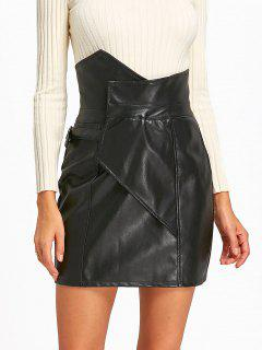 Faux Leather High Waist Mini Skirt - Black L