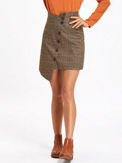 Button Down Asymmetrical Plaid Skirt - Taupe M