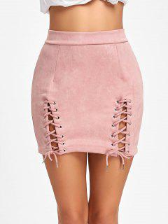 Faux Suede Lace Up A-line Skirt - Pink L