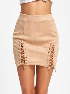 Faux Suede Lace Up A-line Skirt - Apricot M