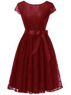 Cap Sleeve Swing Lace Dress - Wine Red M