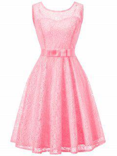 Ärmelloses Spitze Vintage Swing Kleid - Rosa L