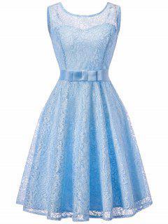 Sleeveless Lace Vintage Swing Dress - Light Blue M