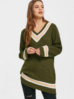 Ribbed V Neck Tunic Sweater - Army Green