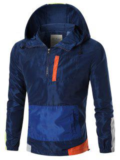 Colorblocked Hooded Windbreaker Jacket - Blue 3xl