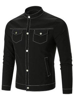 Flap Pocket Single-Breasted Jacket - Black 3xl