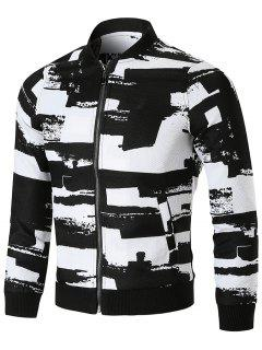 Stand Collar Zip Front Printed Jacket - 3xl